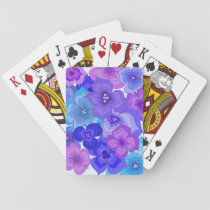 Funky blue floral playing cards
