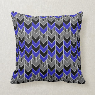 Funky Blue, Gray and Black Arrow Pattern Pillow