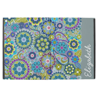 """Funky Blue Green Floral Pattern with Name iPad Pro 12.9"""" Case"""