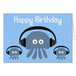Funky Blue Jellyfish DJ Birthday Greeting Card