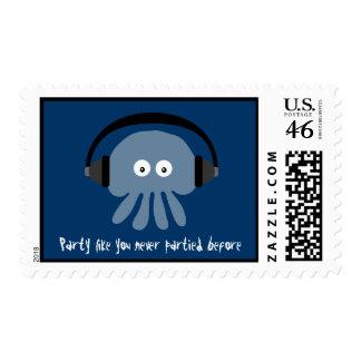 Funky blue Jellyfish DJ custom party stamps