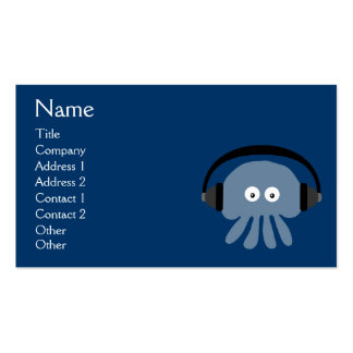 Funky Blue Jellyfish DJ With Headphones Custom Business Card Template