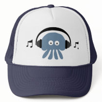Funky Blue Jellyfish With Headphones DJ Cap