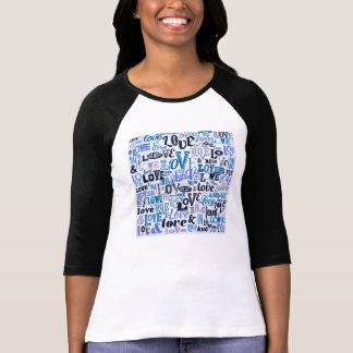Funky Blue Love Text Design T-Shirt