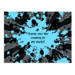 Funky blue paint splatter paintball birthday postcard