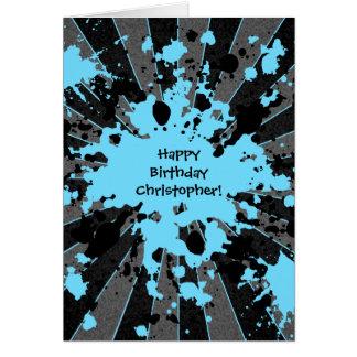 Funky blue paint splatter paintball Happy Birthday Card