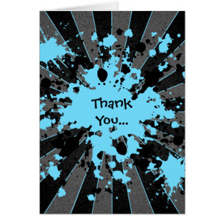 Funky blue paint splatter paintball thank you stationery note card