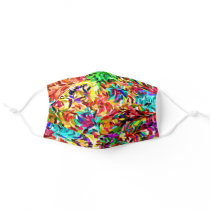 Funky Blue Pink Purple Lime Green Swirls Pattern Adult Cloth Face Mask