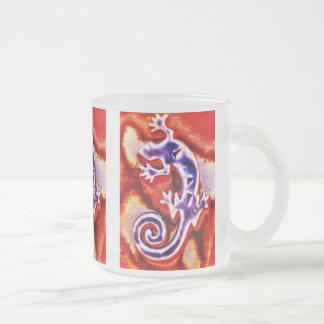 Funky Blue Purple Orange Lizard Gecko Southwestern 10 Oz Frosted Glass Coffee Mug