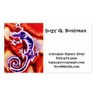 Funky Blue Purple Orange Lizard Gecko Southwestern Business Card Template