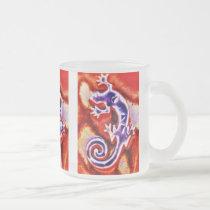 Funky Blue Purple Orange Lizard Gecko Southwestern Frosted Glass Coffee Mug