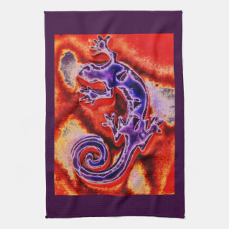 Funky Blue Purple Orange Lizard Gecko Southwestern Kitchen Towel