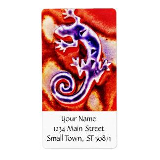 Funky Blue Purple Orange Lizard Gecko Southwestern Label