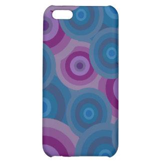 Funky Blue Purple Retro Circles Design Cover For iPhone 5C