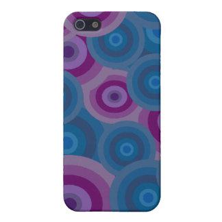 Funky Blue Purple Retro Circles Design Case For iPhone 5