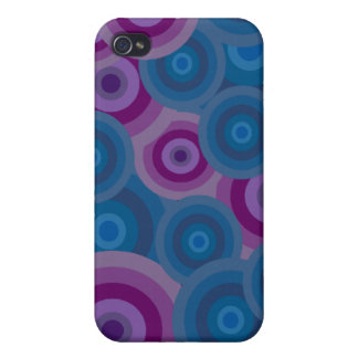 Funky Blue Purple Retro Circles Design Cover For iPhone 4