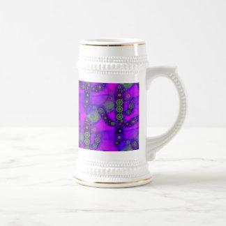 Funky Blue Purple Saguaro Cactus Mosaic Beer Stein