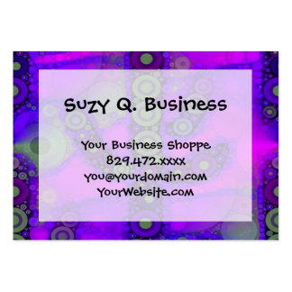 Funky Blue Purple Saguaro Cactus Mosaic Large Business Cards (Pack Of 100)