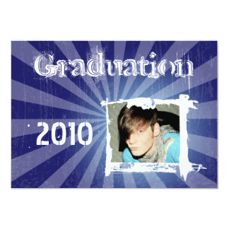 Funky Blue Rad Grad Grunge Graduation Invitations