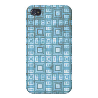 Funky Blue Retro Mosaic Pern Cover For iPhone 4