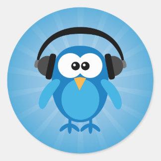 Funky Blue Retro Owl With Headphones Classic Round Sticker