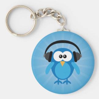 Funky Blue Retro Owl With Headphones Keychain