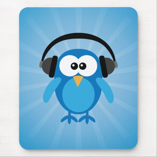 Funky Blue Retro Owl With Headphones Mousepad