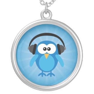 Funky Blue Retro Owl With Headphones Round Pendant Necklace