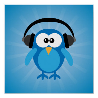 Funky Blue Retro Owl With Headphones Poster