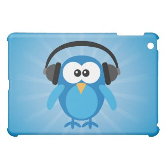 Funky Blue Retro Owl With Heads Case For The iPad Mini
