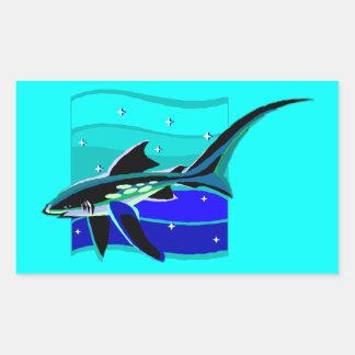 Funky Blue Shark Rectangular Stickers