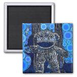 Funky Blue Sock Monkey Circles Bubbles Pop Art 2 Inch Square Magnet