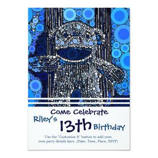 Funky Blue Sock Monkey Circles Bubbles Pop Art 5x7 Paper Invitation Card