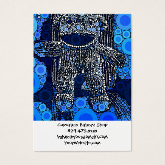 Funky Blue Sock Monkey Circles Bubbles Pop Art Business Card