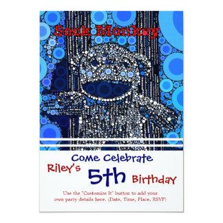 Funky Blue Sock Monkey Circles Bubbles Pop Art Card