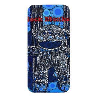 Funky Blue Sock Monkey Circles Bubbles Pop Art iPhone SE/5/5s Case