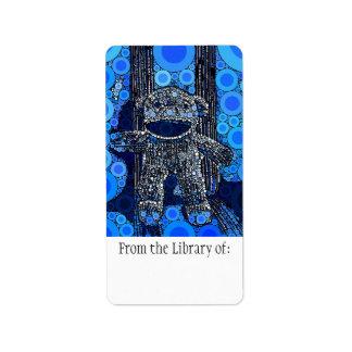 Funky Blue Sock Monkey Circles Bubbles Pop Art Label