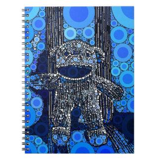 Funky Blue Sock Monkey Circles Bubbles Pop Art Notebook