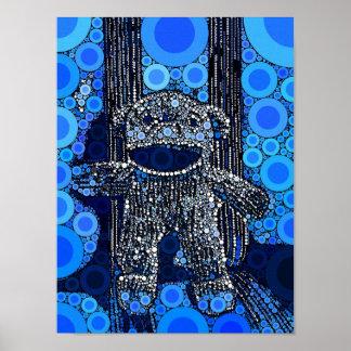 Funky Blue Sock Monkey Circles Bubbles Pop Art Poster