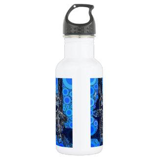 Funky Blue Sock Monkey Circles Bubbles Pop Art Stainless Steel Water Bottle