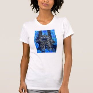 Funky Blue Sock Monkey Circles Bubbles Pop Art T-shirt
