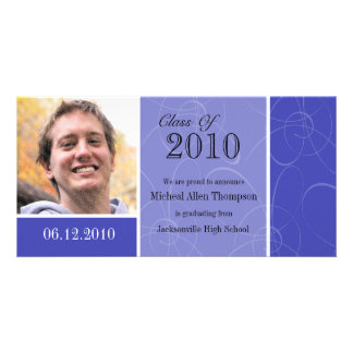Funky Blue Swirl Graduation Photo Card