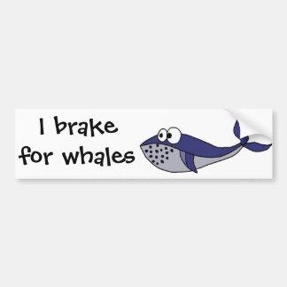 Funky Blue Whale Cartoon Design Bumper Sticker