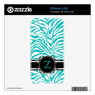 Funky Blue Zebra Stripe Pattern with Monogram iPhone 4S Skins