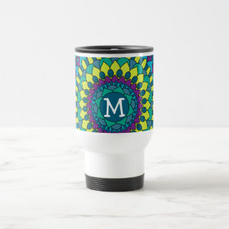 Funky Bohemian Flower Petals with Monogram 15 Oz Stainless Steel Travel Mug