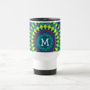 Funky Bohemian Flower Petals with Monogram Travel Mug