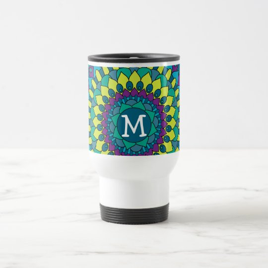 Funky Bohemian Flower Petals with Monogram Travel Mug