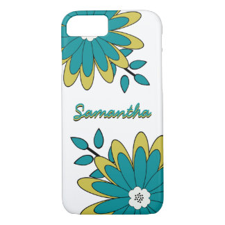 Funky Boho Chic Bright Floral with Personalization iPhone 7 Case