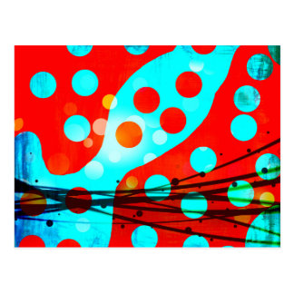 Funky Bold Red Blue Abstract Polka Dots Design Postcard