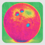 Funky bowling ball square stickers
